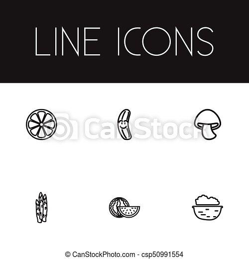 set, essere, affettato, infographic, design., 6, verdura, noce, agrume, usato, mobile, editable, icons., include, web, tale, more., simboli, contorno, asparago, ui, lattina - csp50991554