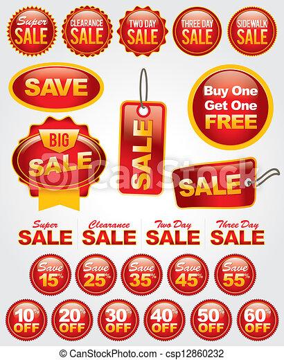 set, etiketten, verkoop, vector, bevordering, kentekens - csp12860232