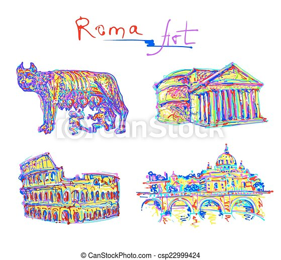 set famous place of Rome Italy, original drawing in rainbow colo - csp22999424