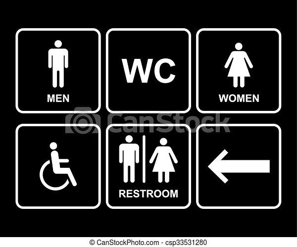 Set Femmina Icone Simbolo Bagno Freccia Disability Maschio
