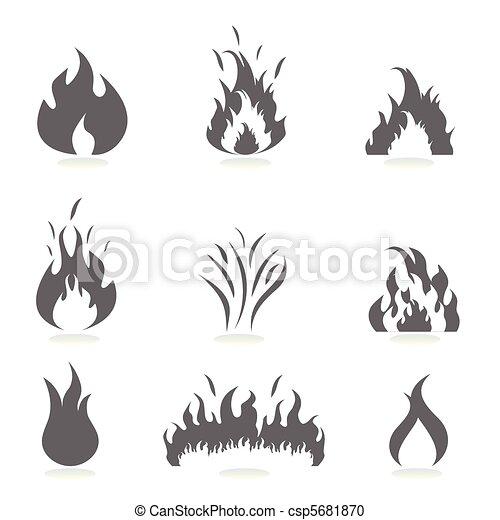 set, fiamme, icona - csp5681870