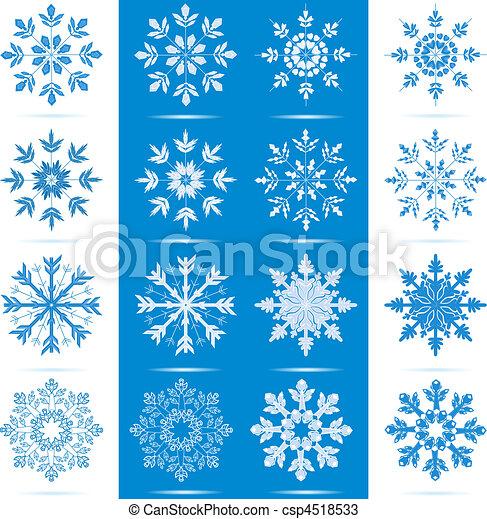 Set Fiocco Di Neve Icona Differente Set Fiocchi Neve Colorare