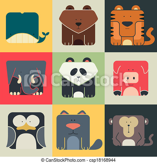 Set flat square icons of a cute animals - csp18168944