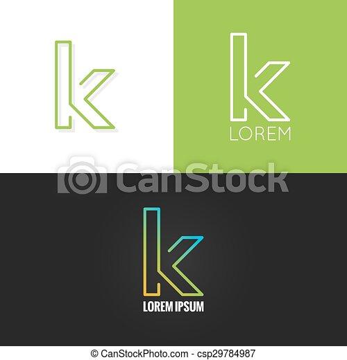 set, fondo, alfabeto, k, disegno, lettera, logotipo, icona - csp29784987