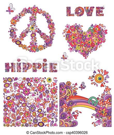 Set for hippie wallpaper - csp40396026