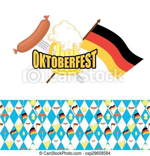 set for oktoberfest logo and pattern of rhombus beer and vector rh canstockphoto ca oktoberfest clip art images oktoberfest clip art vector