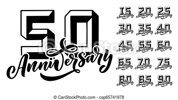 Set For Party Invitation 50 Years Anniversary Celebration Vector Design Concept Greeting Card Template Wedding Ceremony