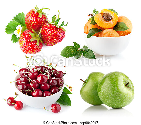 set fresh fruit with green leaf - csp9942917
