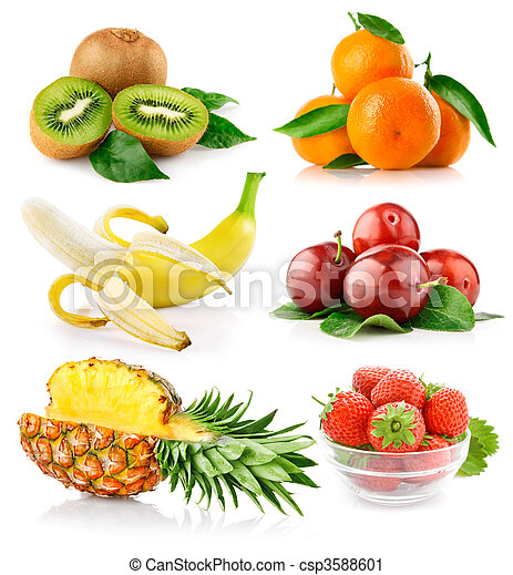 set fresh fruits with green leaves - csp3588601