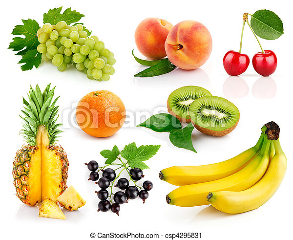 set fresh fruits with green leaves - csp4295831