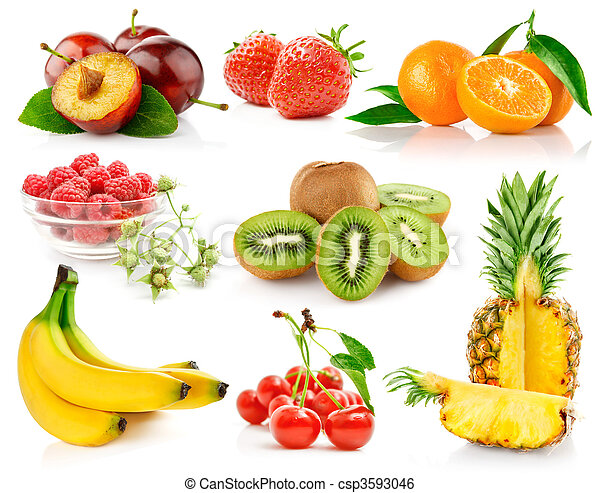 set fresh fruits with green leaves - csp3593046