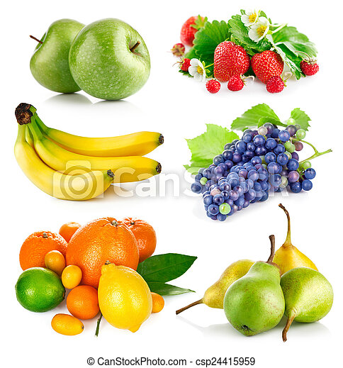 Set fresh fruits with green leaves - csp24415959