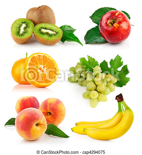 set fresh fruits with green leaves - csp4294075