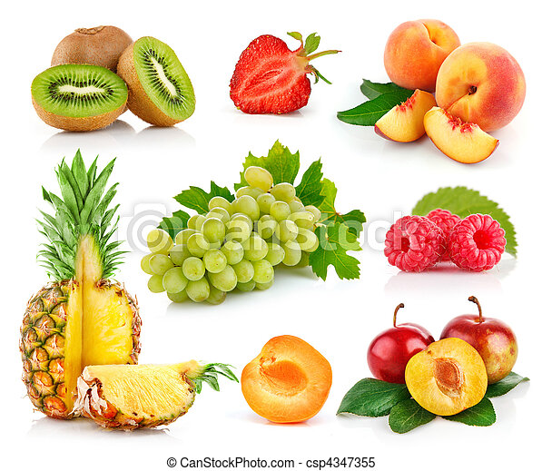 set fresh fruits with green leaves - csp4347355