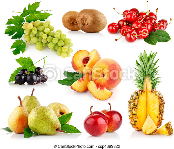 set fresh fruits with green leaves - csp4399322