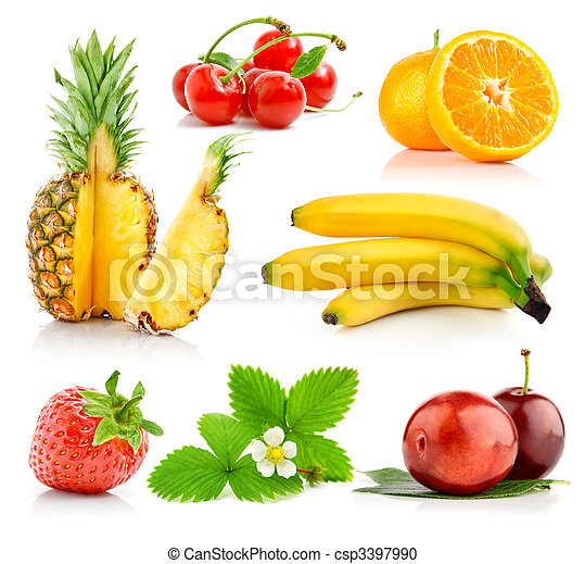 set fresh fruits with green leaves - csp3397990