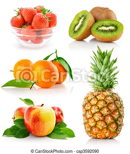 set fresh fruits with green leaves - csp3592090