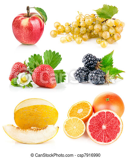 set fresh fruits with green leaves - csp7916990