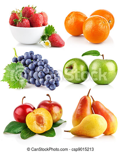 set fresh fruits with green leaves - csp9015213