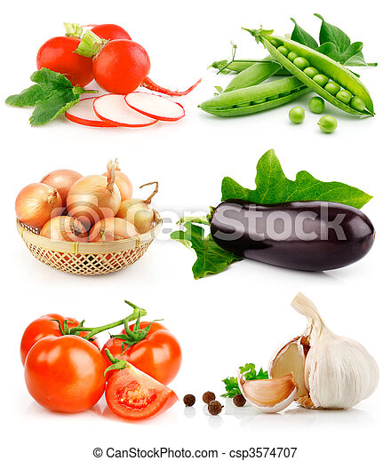 set fresh vegetable fruits with green leaves - csp3574707