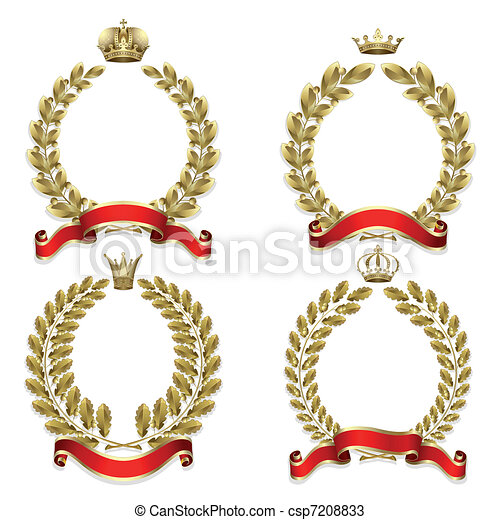 Set from gold laurel and oak wreath - csp7208833