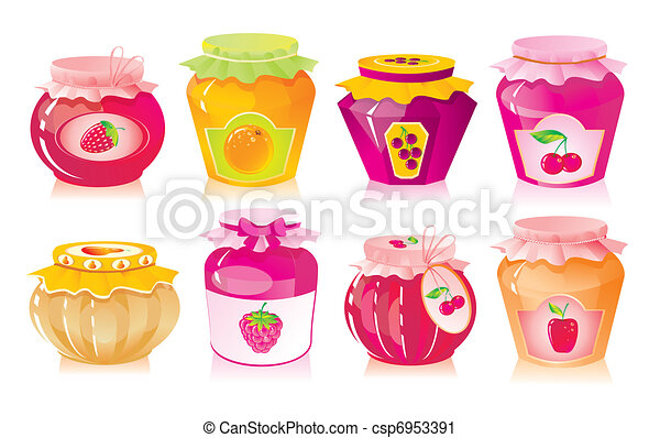 Set from jars with fruit and berry jam  - csp6953391