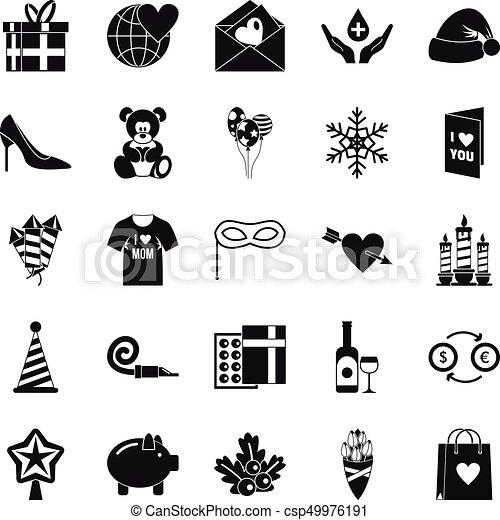 set, generosità, stile, icone semplici - csp49976191