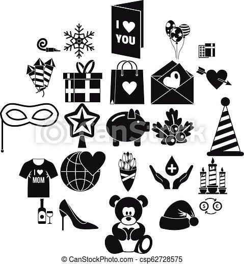 set, generosità, stile, icone semplici - csp62728575
