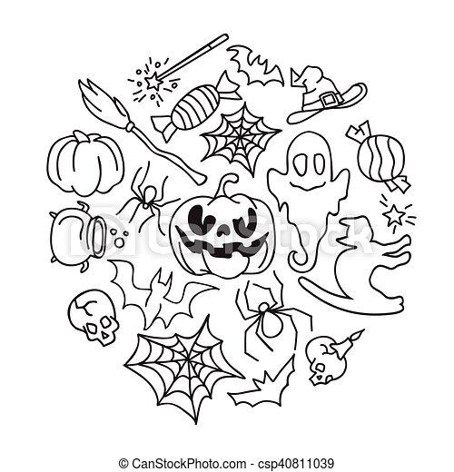 Happy Halloween Icons Set. - csp40811039