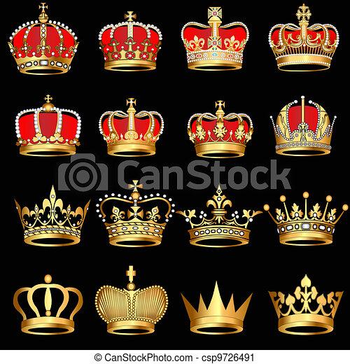 set gold  crowns on black background - csp9726491