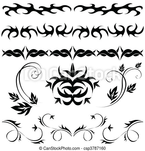 Gothic Pattern Silhouette Of Dragon And Chain Black Tattoo