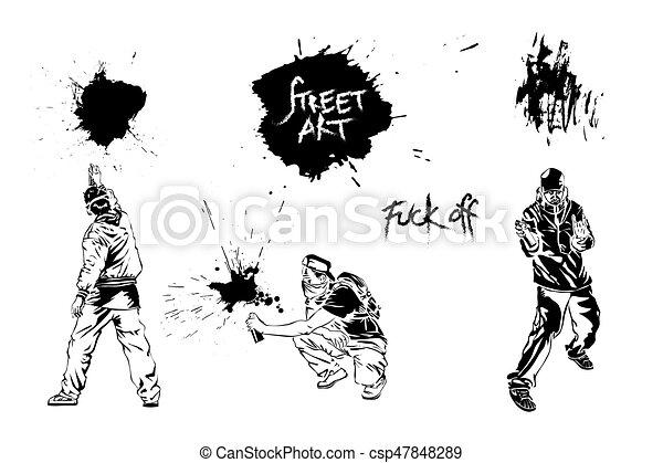 Set graffiti art. Artists, signs and splashes. - csp47848289
