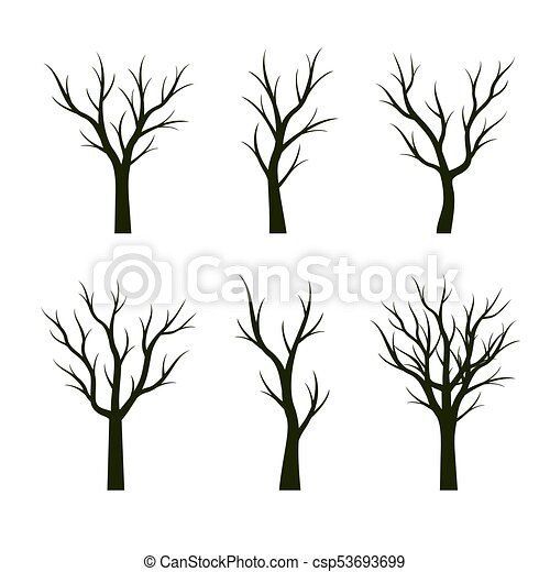Set Green Trees Without Leaves Vector Illustration Set Green Trees Without Leaves Vector Illustration And Graphic Elements