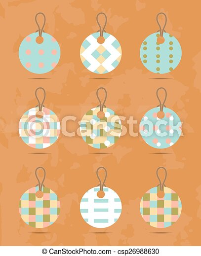 Set, group, collection of nine, round, isolated hanging tags, stickers with simple, romantic, seamless pattern, retro design, orange background - grunge - csp26988630