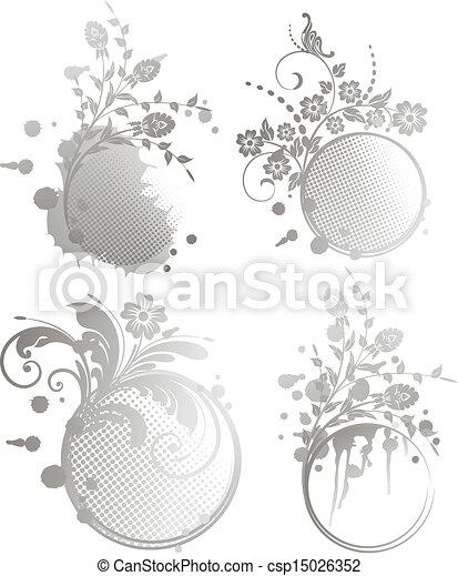 set Grunge floral frame - csp15026352