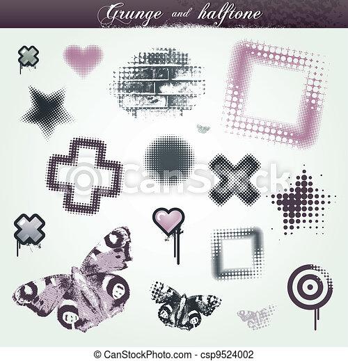 set, grunge, halftone, elementi, vario, disegno - csp9524002