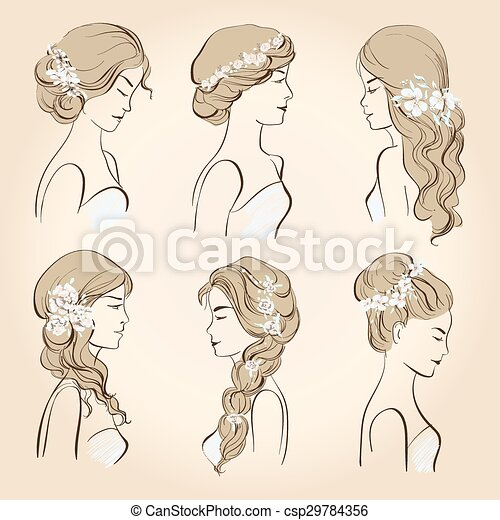 Set hair with flowers for blond hai - csp29784356