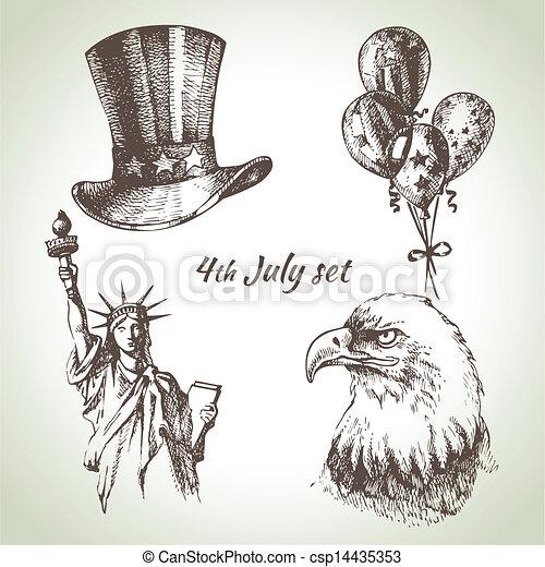 set., hand, 4, illustraties, getrokken, juli, amerika, dag, onafhankelijkheid - csp14435353