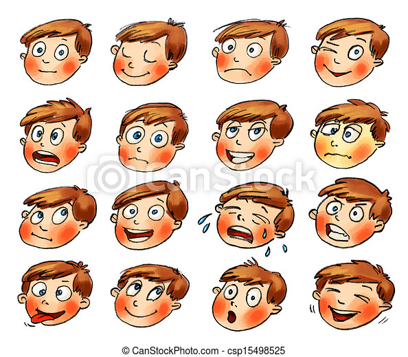 set., hand-drawn, emotions., gesichtsausdrücke, karikatur - csp15498525