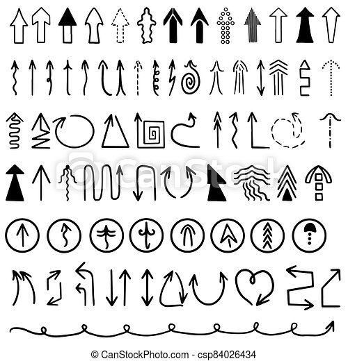 Set hand drawn of useful arrows. Vector illustration on white background. Icon set in black and white. Collection of concept for web design mobile apps, interface. - csp84026434