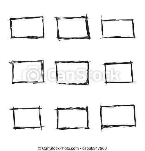 Set hand drawn rectangle - csp66347960