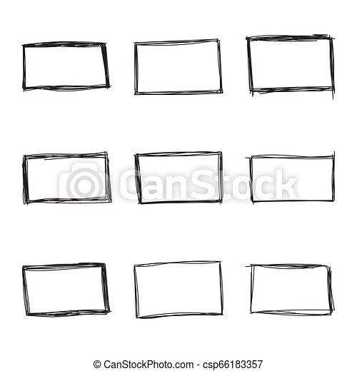 Set hand drawn rectangle - csp66183357