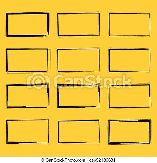 Set hand drawn rectangle - csp32186631