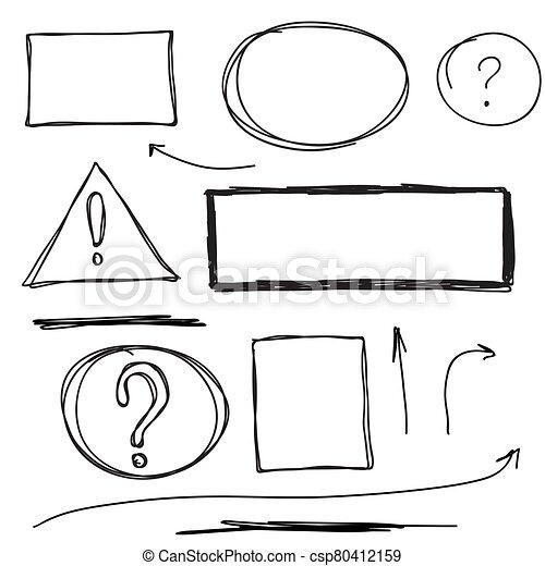 Set hand drawn text box. - csp80412159