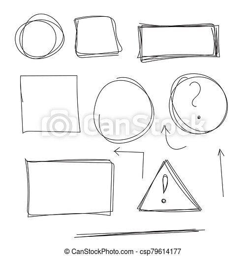 Set hand drawn text box. - csp79614177