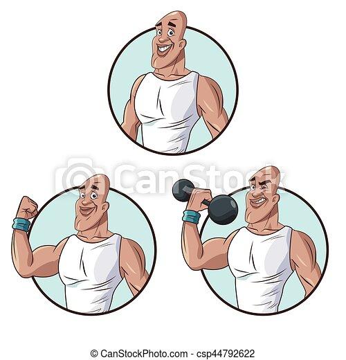 Set Healthy Man Athletic Muscular Vector Illustration Eps 10