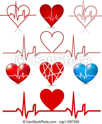Set hearts beats graph. Vector - csp11587030