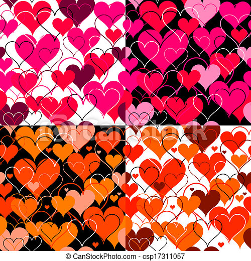 Set hearts pink seamless Backgrounds. Vector - csp17311057