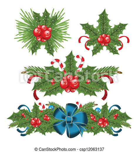 Set holly berry sprigs for christmas decorations - csp12063137