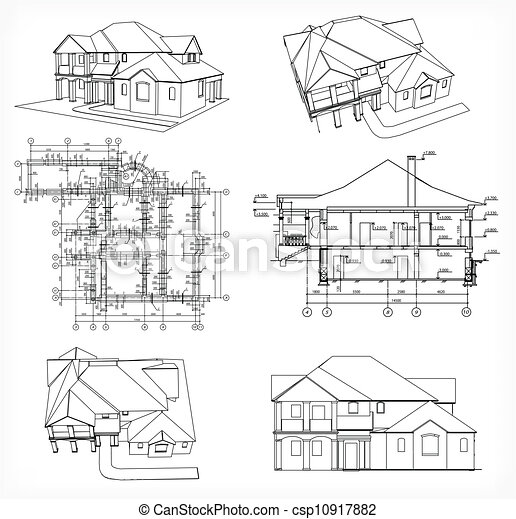 Set houses and blueprint vector cad elevations for a house front rear set houses and blueprint vector malvernweather Choice Image